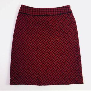 LOFT Red & Black Tweed Wool Pencil Career Skirt